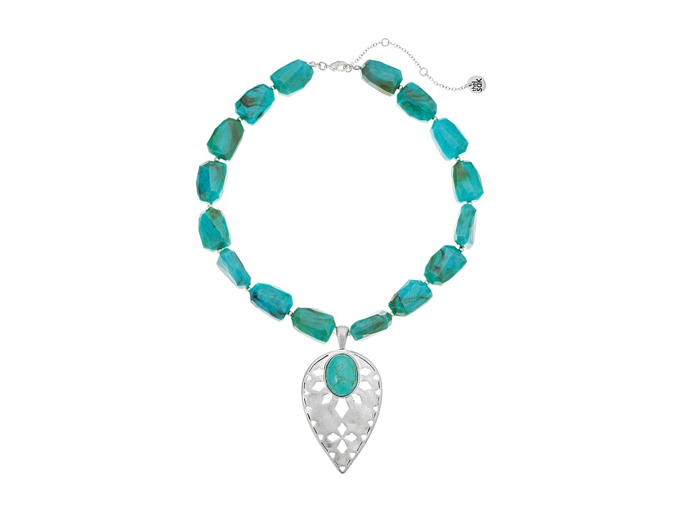 The Sak - Beaded Collar with Pendant Necklace 16 + 3 (Turquoise) Necklace