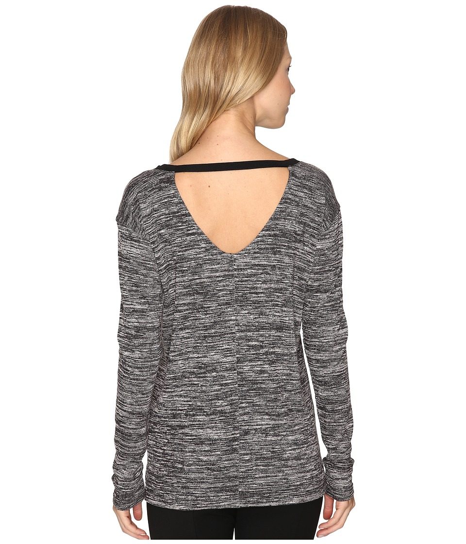 Calvin Klein Jeans Marl Long Sleeve V-Back Tee (Black/White Combo) Women