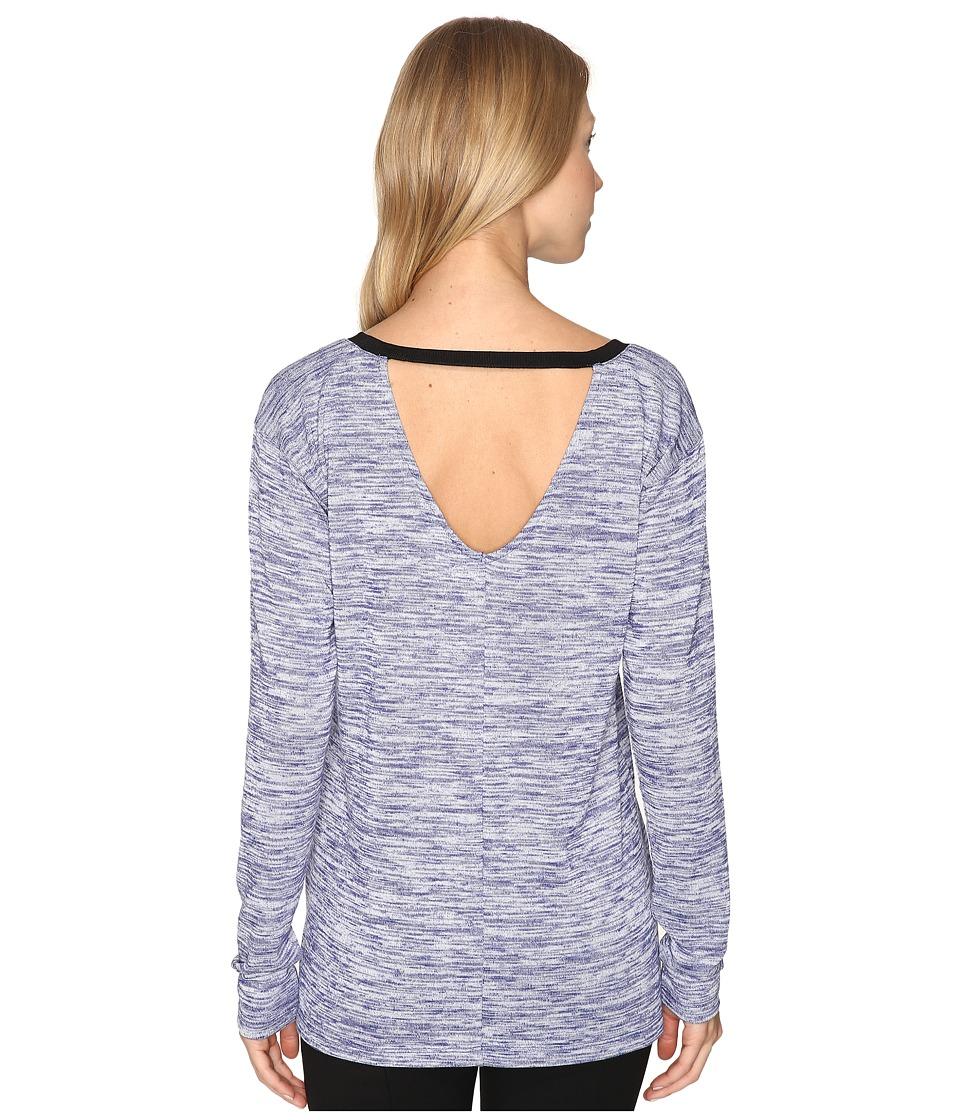 Calvin Klein Jeans - Marl Long Sleeve V-Back Tee (Blueberry Dust) Women's T Shirt