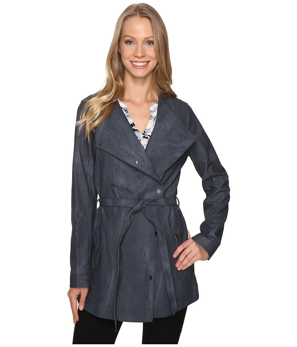 Calvin Klein Jeans - Marble Wash Self Tie Outerwear (Blue Nights) Women's Coat