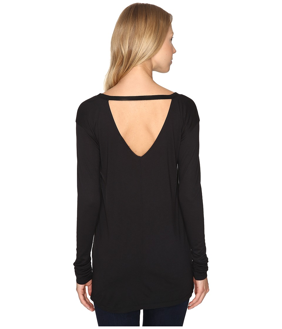 Calvin Klein Jeans - V-Back Solid Long Sleeve Shirt (Black) Women's Clothing