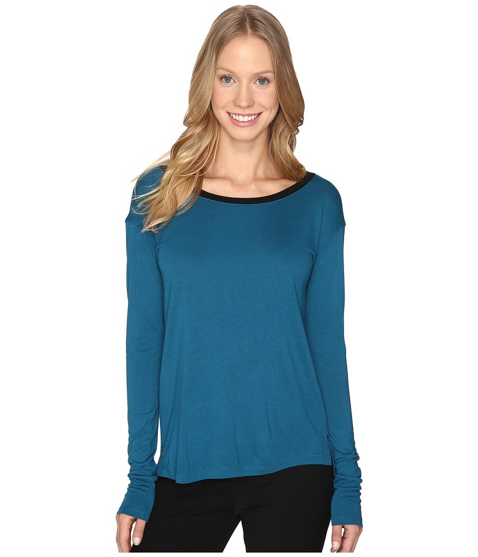 Calvin Klein Jeans V-Back Solid Long Sleeve Shirt (Electric Teal) Women