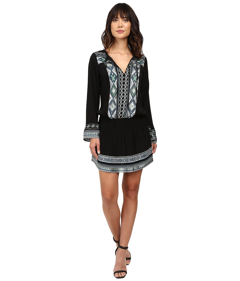 Hale Bob - State of the Arts Crepe Dress with Embroidery (Black) Women's Dress