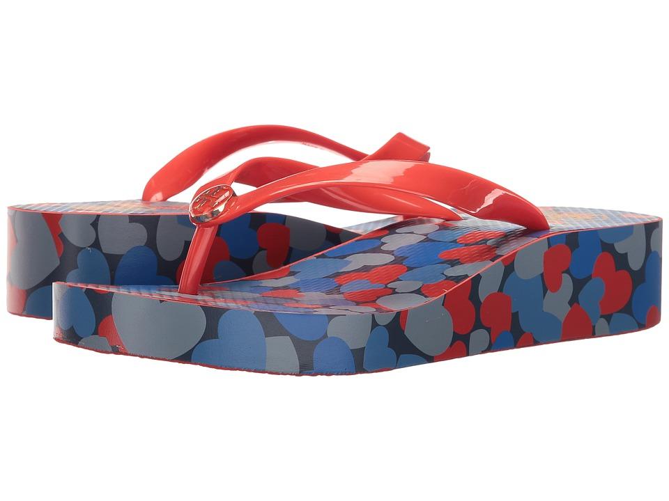 Tory Burch - Classic Wedge Flip-Flop (Samba/Sailing Blue) Women's Sandals