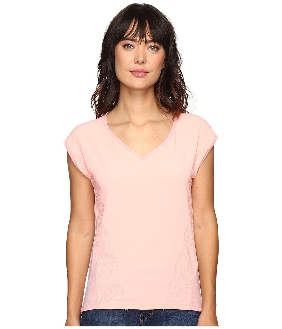 Calvin Klein Jeans Trend Table V-Neck T-Shirt (Pucker Pink) Women