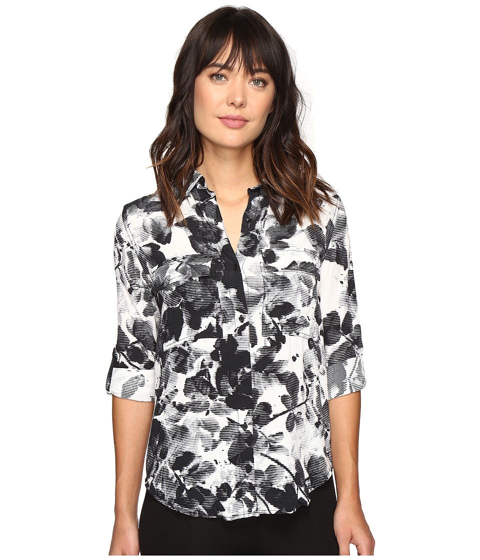 Calvin Klein Jeans - Muted Utility Printed Long Sleeve Woven Shirt (Marshmallow) Women's Long Sleeve Button Up