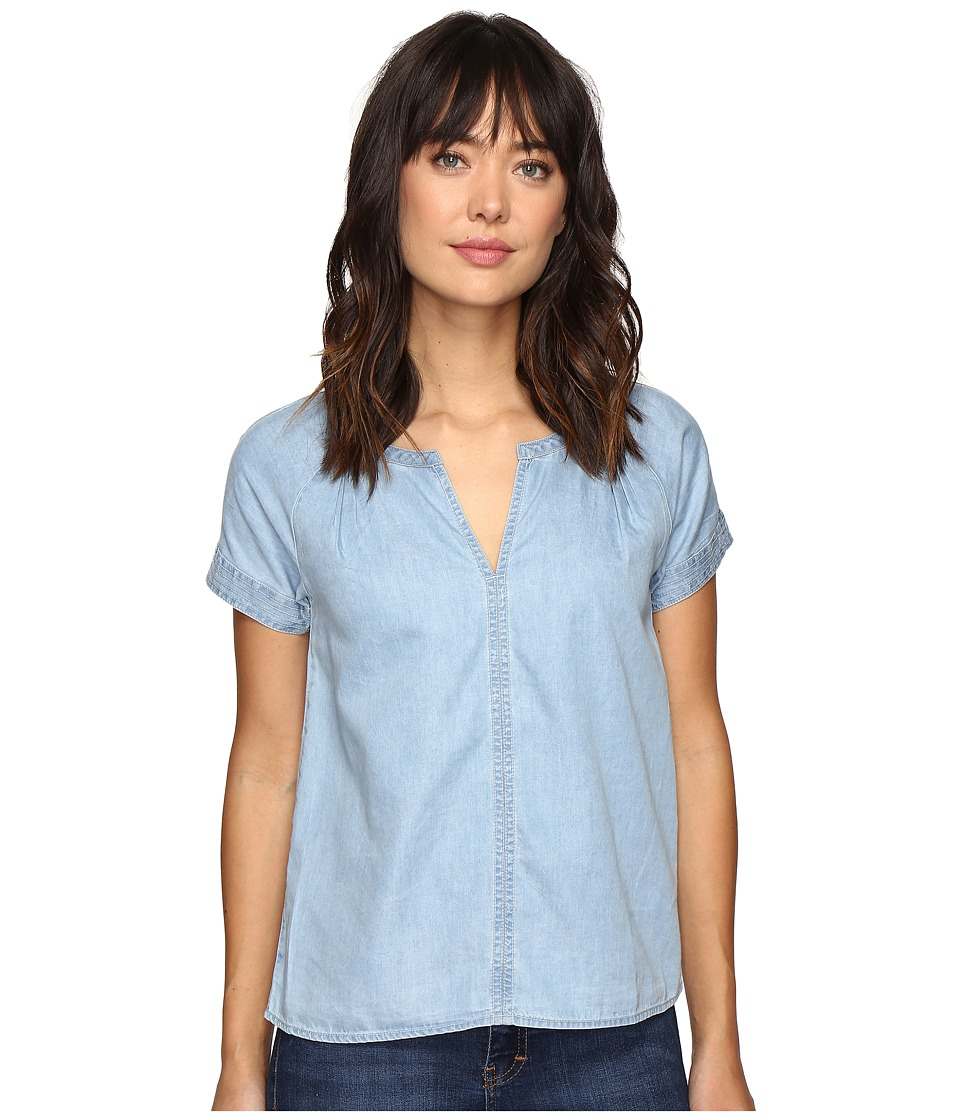 Calvin Klein Jeans - Indigo V Popover Short Sleeve Woven Shirt (White Weft Light) Women's Short Sleeve Pullover