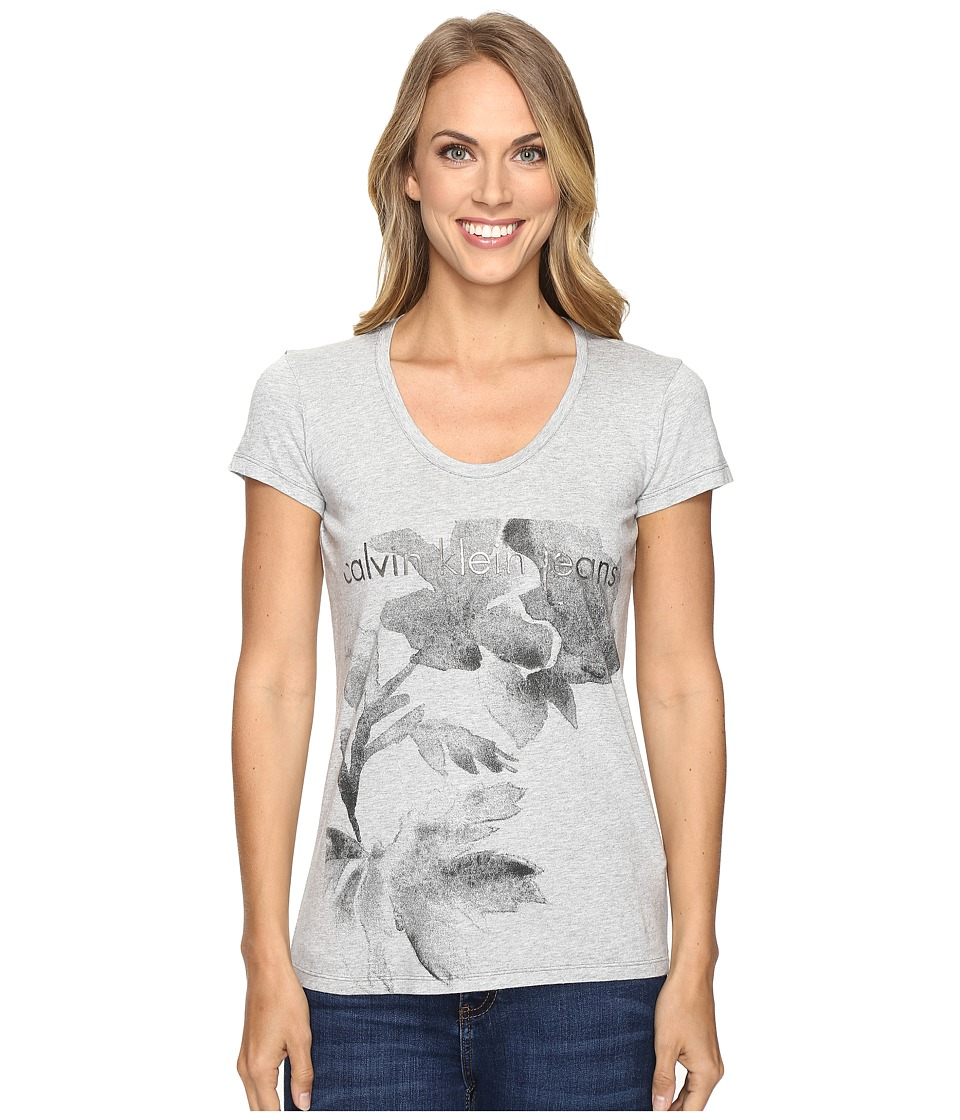 Calvin Klein Jeans Flower Logo Tee (Light Grey Heather) Women