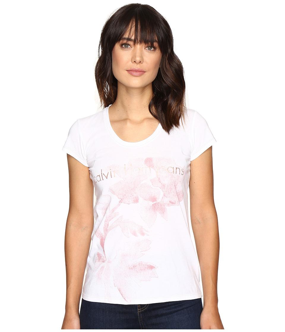 Calvin Klein Jeans Flower Logo Tee (Classic White) Women