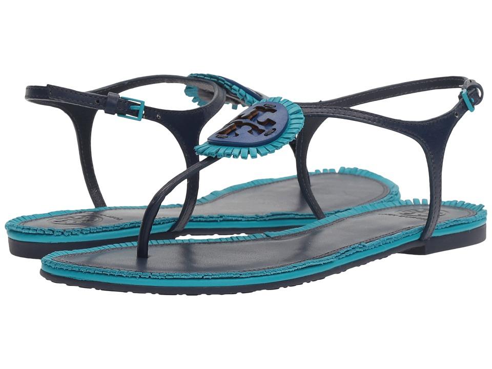 Tory Burch - Miller Fringe Flat Sandal (Navy Sea/Brilliant) Women's Sandals