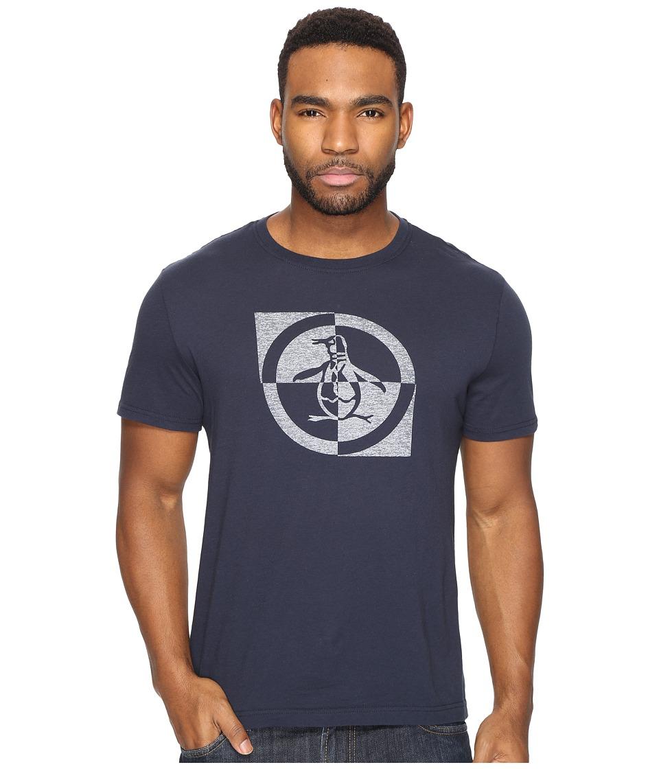 Original Penguin - Short Sleeve Checkerboard Circle (Dark Sapphire) Men's Clothing