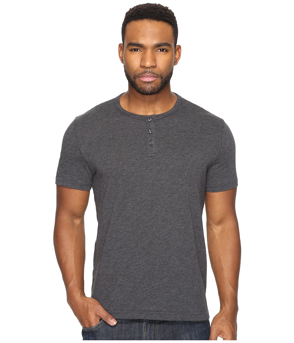 Original Penguin - Short Sleeve Bing Henley (Dark Charcoal Heather) Men's Clothing
