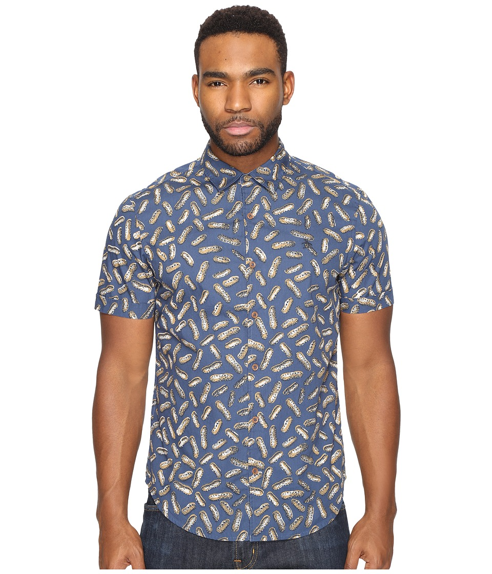 Original Penguin - Short Sleeve Peanut Printed Pullover (Dark Denim) Men's Clothing