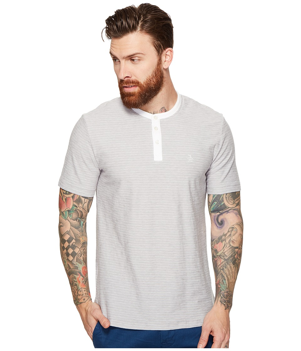Original Penguin - Short Sleeve Tricolor Feeder (Mirage Gray) Men's Clothing