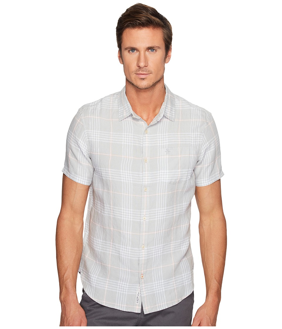 Original Penguin - Short Sleeve Linen Plaid (Mirage Gray) Men's Clothing