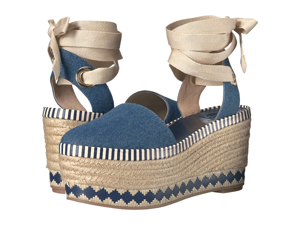 Tory Burch - Dandy Espadrille Wedge (Blue Denim/Natural) Women's Wedge Shoes