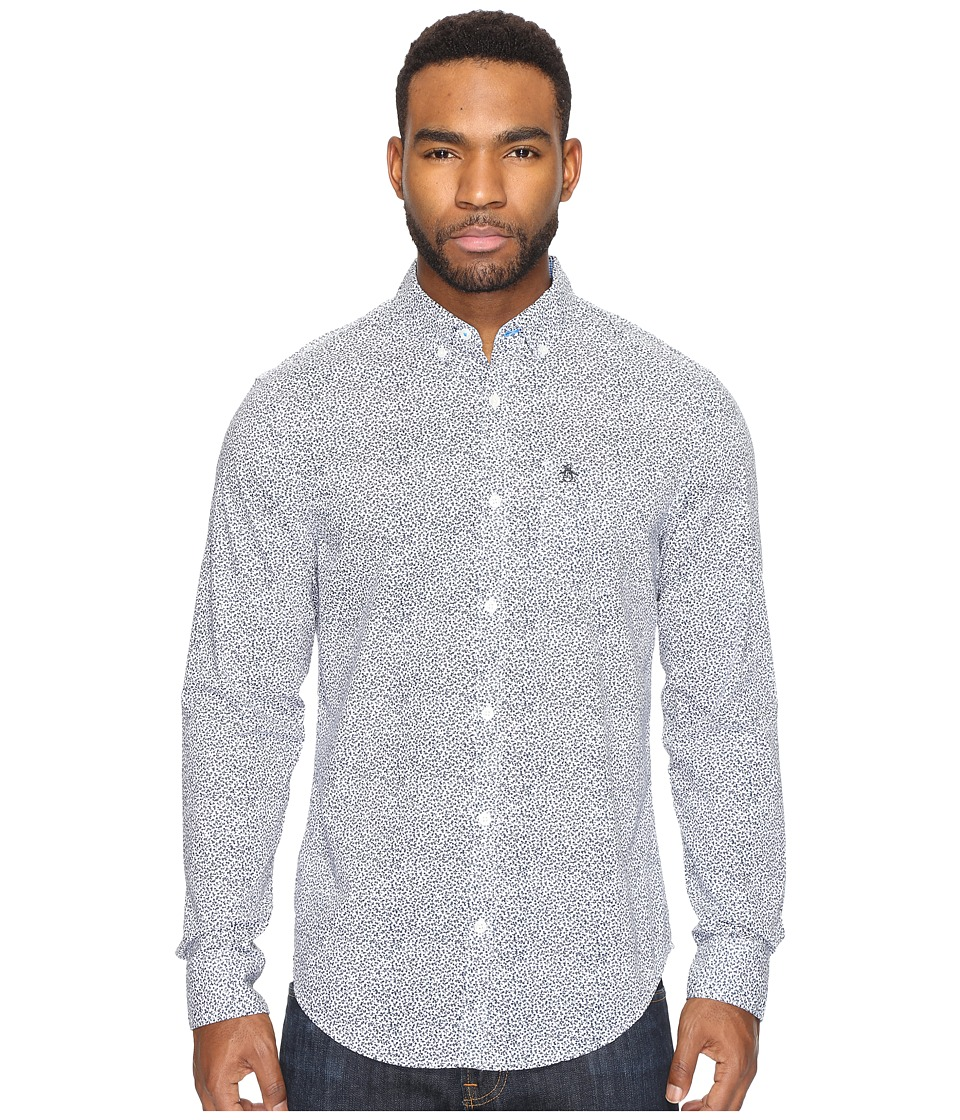 Original Penguin - Long Sleeve Mini Floral with (Dark Sapphire) Men's Clothing