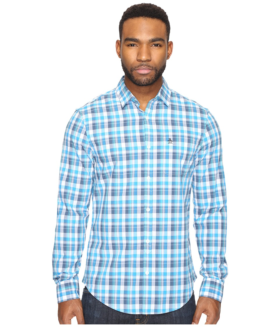 Original Penguin - Long Sleeve P55 Jaspe Plaid (Diva Blue) Men's Clothing