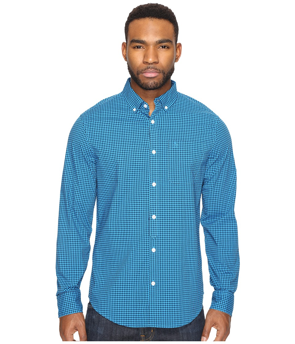Original Penguin - Long Sleeve Core Gingham Woven (Diva Blue) Men's Clothing