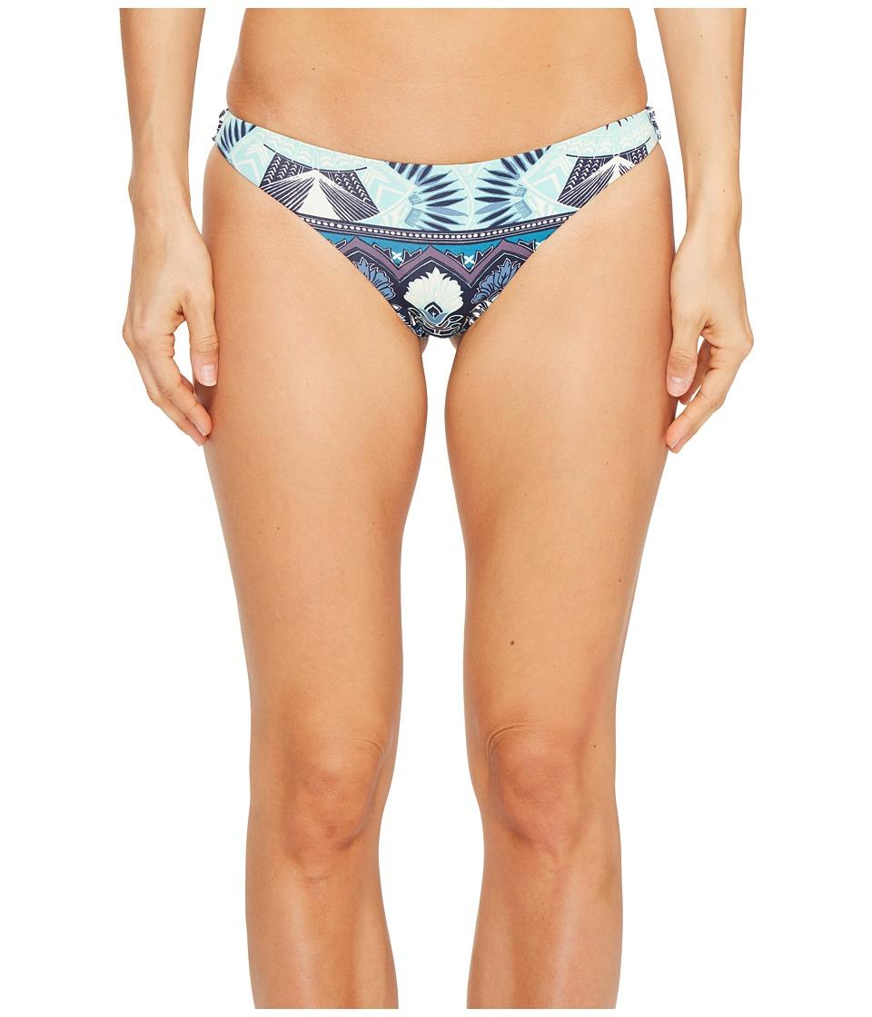 Roxy - Strappy Love Reversible Mini Bikini Bottom (Dress Blue Hippie Hop Border Swim) Women