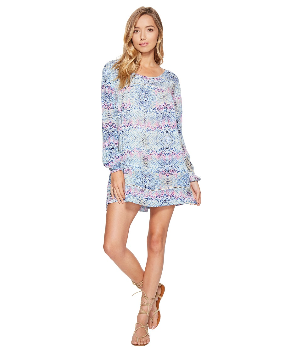 Roxy - Sneak Peak Long Sleeve Cover-Up (Marshmallow Labana Aguila) Women's Dress