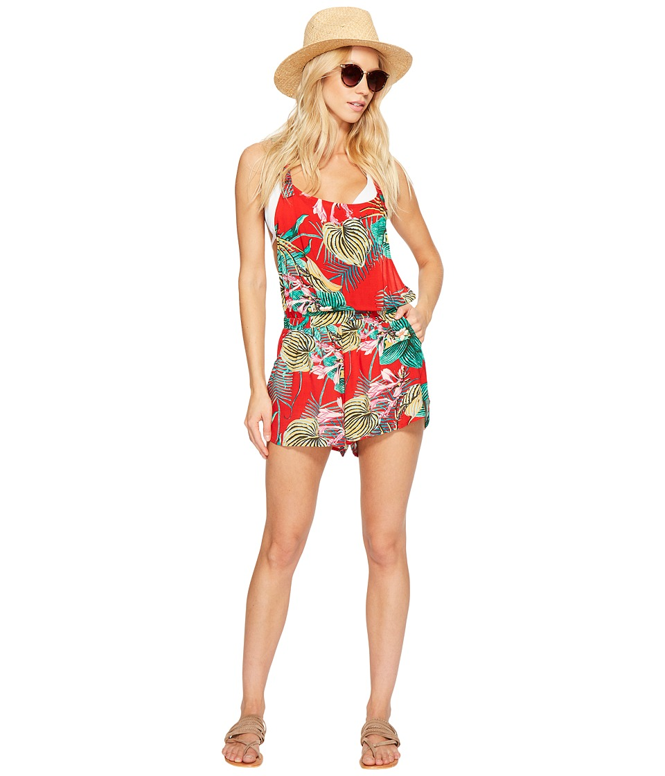 Roxy - Sandy Break Romper Cover-Up (Salsa Havana Flower) Women's Jumpsuit & Rompers One Piece
