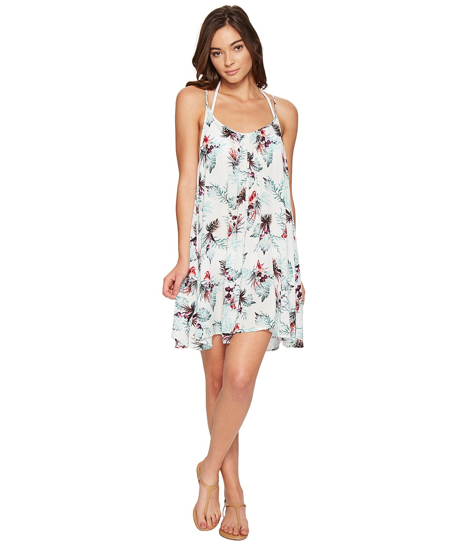 Roxy - Windy Fly Away Print Dress Cover-Up (Marshmallow Cariban Flowers) Women's Swimwear