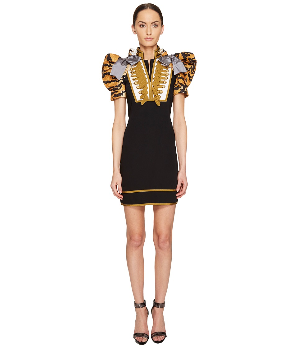 DSQUARED2 - Tiger Puff Short Sleeves Mini Dress (Black) Women's Dress