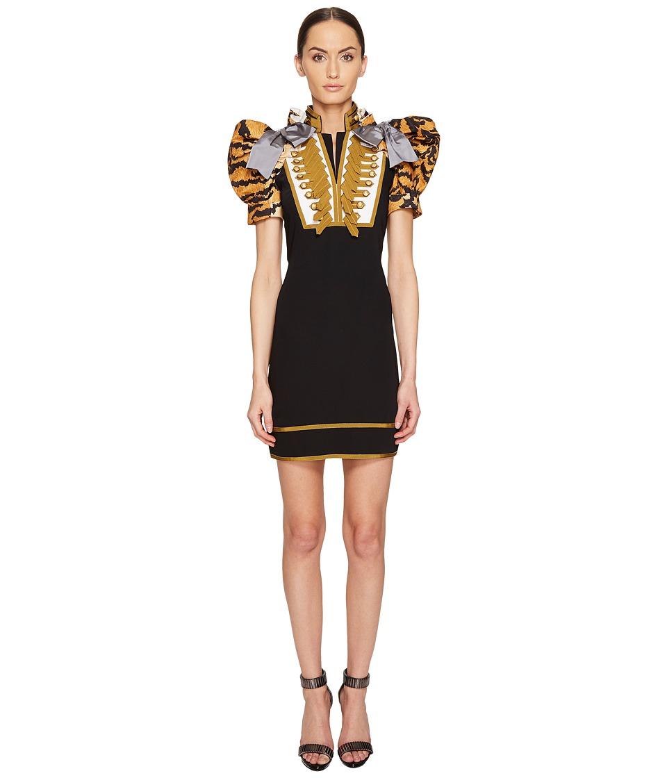 DSQUARED2 - Tiger Puff Short Sleeves Mini Dress (Black) Women's Dress