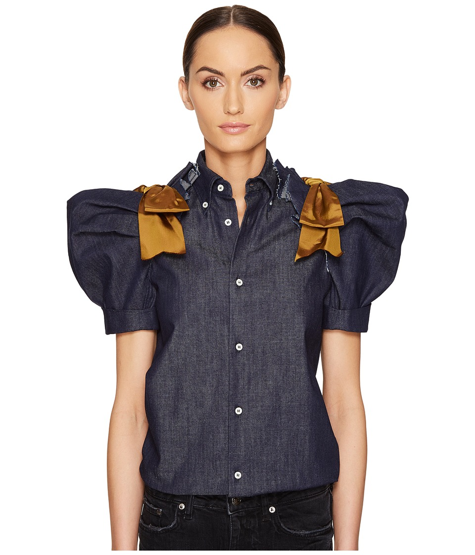DSQUARED2 - Dark Wash Puff Short Sleeves Denim Shirt (Blue) Women's Clothing