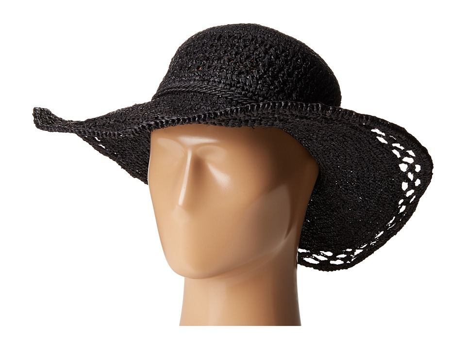 San Diego Hat Company - RHL3085 Crochet Raffia Sun Brim Hat (Black) Traditional Hats