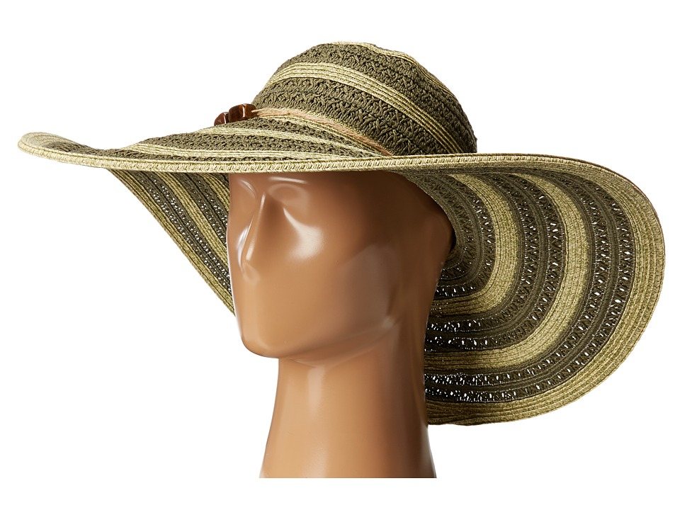 San Diego Hat Company - UBL6489 Round Crown Stripe Ultrabraid Floppy Hat (Olive) Traditional Hats