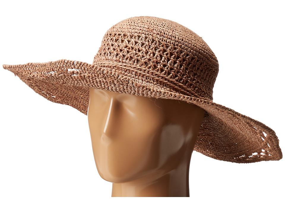 San Diego Hat Company - RHM6006 Crochet Raffia Oval Crown Sun Brim Hat (Nougat) Traditional Hats