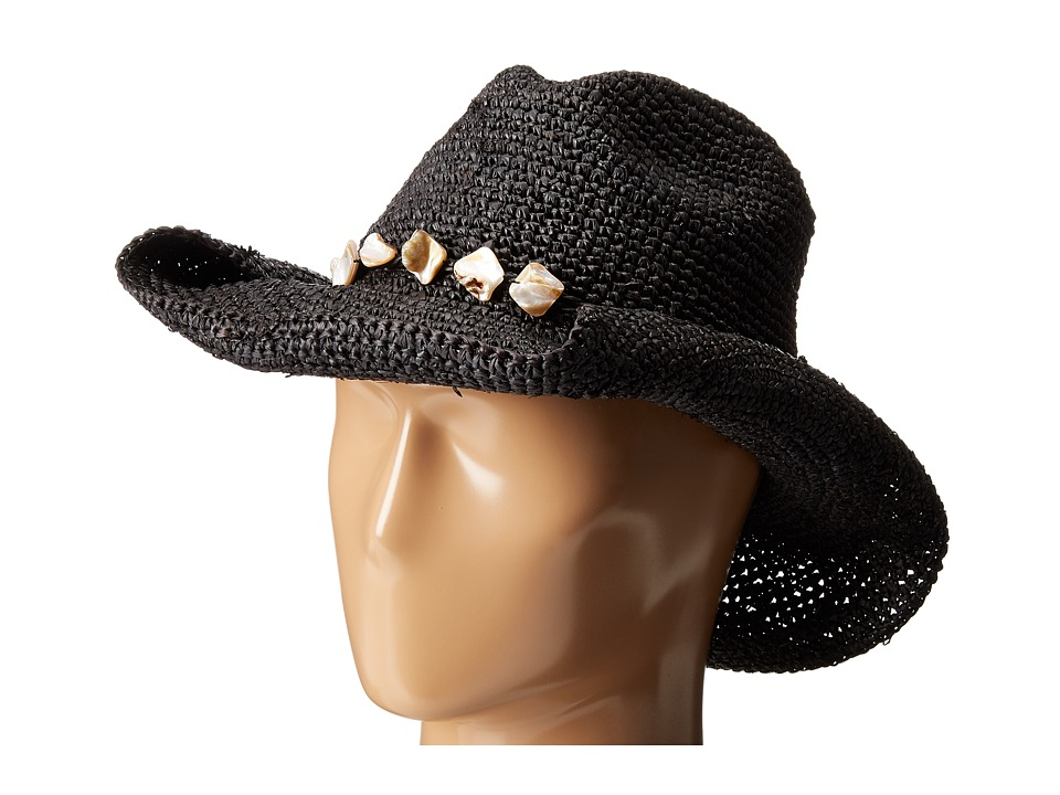 San Diego Hat Company - RHC1080 Crochet Raffia Hat with Beaded Trim (Black) Knit Hats