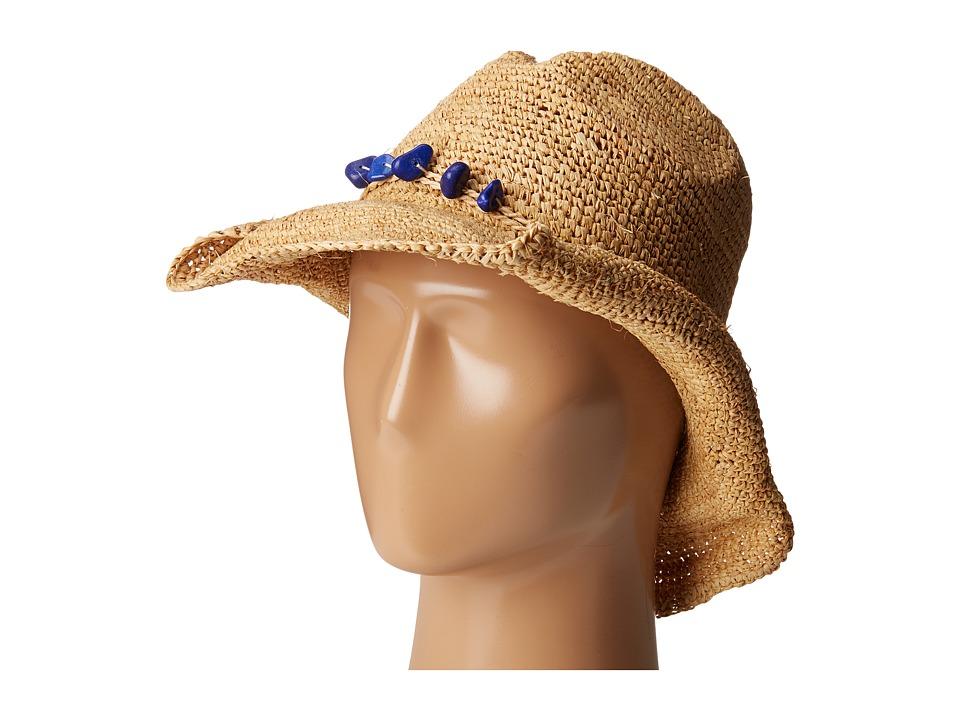 San Diego Hat Company - RHC1074 Crochet Raffia Cowboy w/ Turqoise Bead Trim (Natural /Cobalt) Traditional Hats