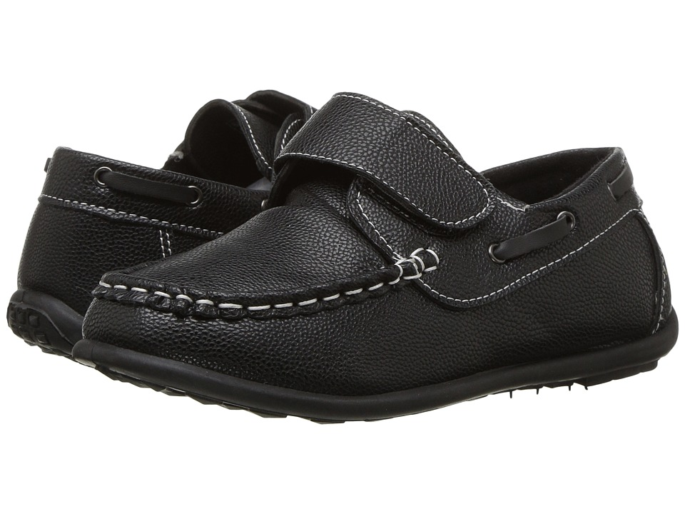 Josmo Kids - 1542B Hook Loop Fastener Loafer (Toddler/Little Kid/Big Kid) (Black) Boy's Shoes