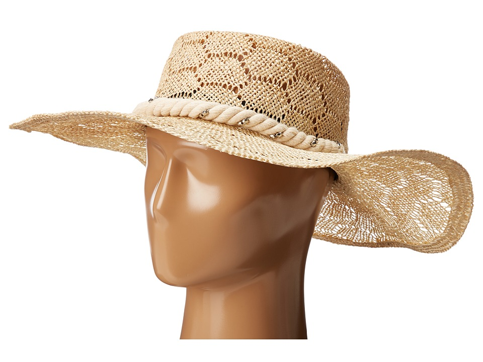 San Diego Hat Company - SPS1001 Sisal Quilt Stitch Floppy Hat (Natural) Traditional Hats