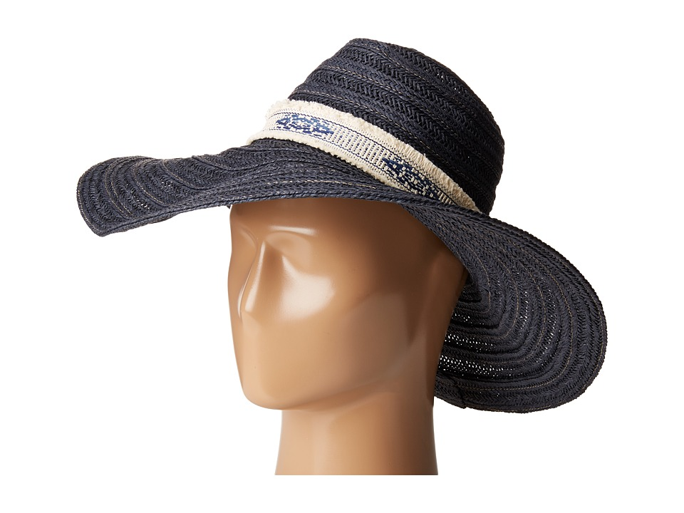 San Diego Hat Company - PBL3076 Floppy Hat with Jacquard Canvas Trim (Navy) Traditional Hats