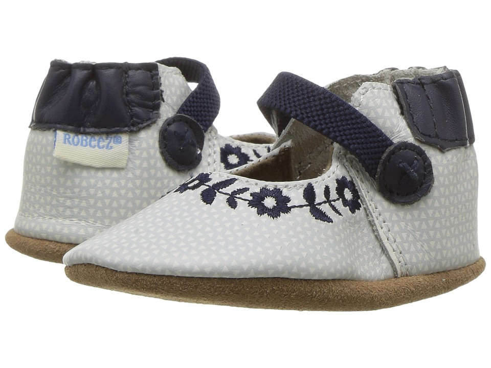 Robeez - Daisy Lane Embroidered Mary Jane Soft Sole (Infant/Toddler) (Navy) Girl's Shoes