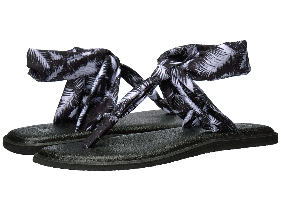 Sanuk - Yoga Sling Ella Prints (Black Hazy Palms) Women's Sandals