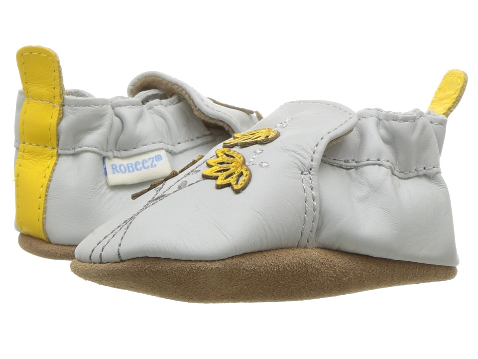 Robeez - Marigold Embroidery Soft Sole (Infant/Toddler) (Grey) Girl's Shoes