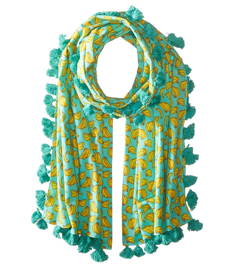 San Diego Hat Company - BSS1694 Cotton All Over Banana Print Scarf with Tassels (Teal) Scarves