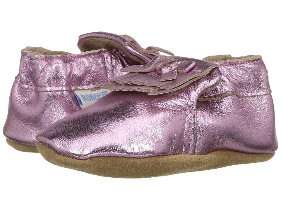 Robeez - Mackenzie Moccasin Soft Sole (Infant/Toddler) (Metallic Pink) Girl's Shoes