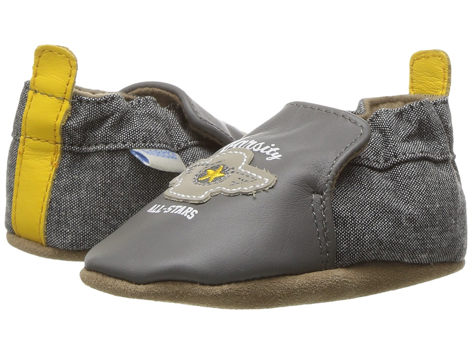 Robeez - Varsity Soft Sole (Infant/Toddler) (Dark Grey) Boy's Shoes