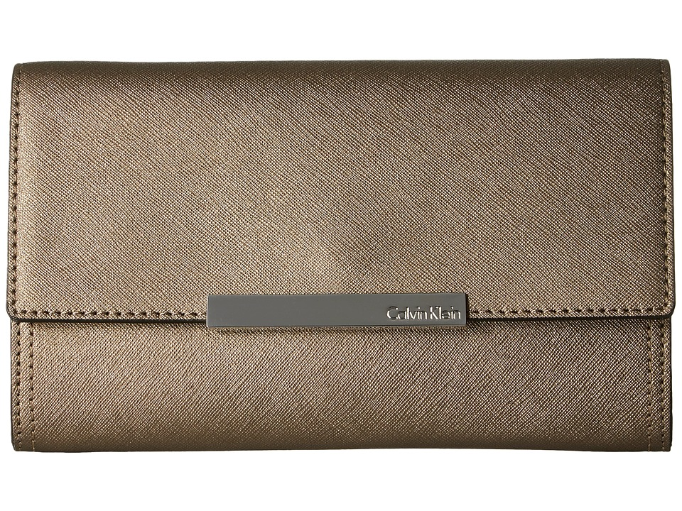 Calvin Klein - Evening Saffiano Clutch (Metallic Truffle) Clutch Handbags