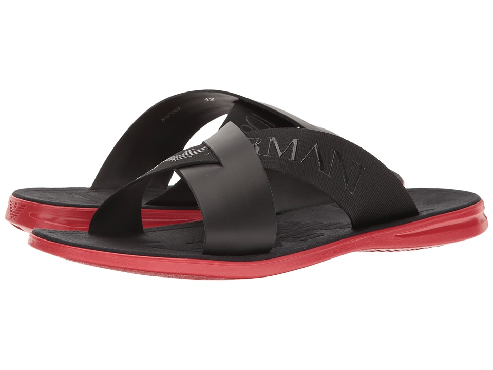 Emporio Armani - Logo Slide Sandal (Black) Men's Sandals