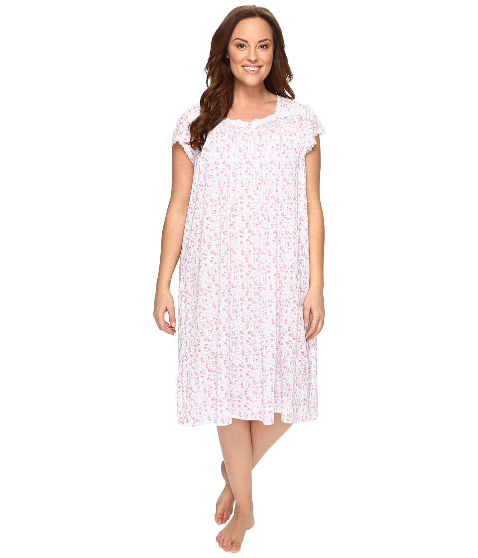 Eileen West - Plus Size Waltz Nightgown (White Multi) Women's Pajama