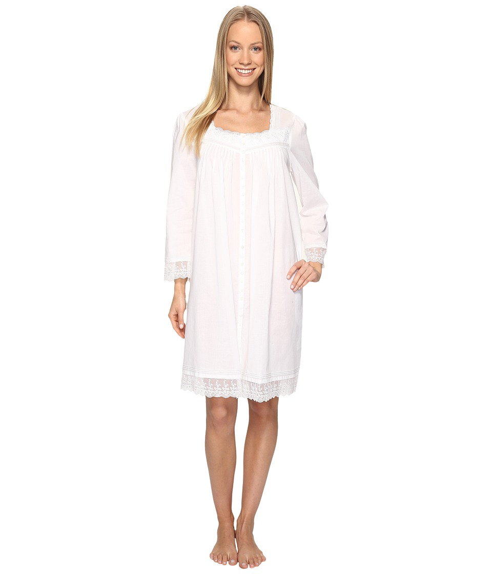 Eileen West - Short Button Front Coat (Solid White) Women's Pajama