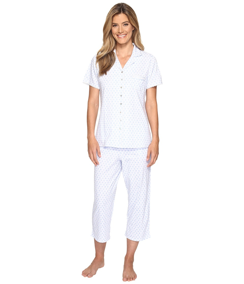 Eileen West - Notch Collar Capri PJ (Blue Geo) Women's Pajama Sets