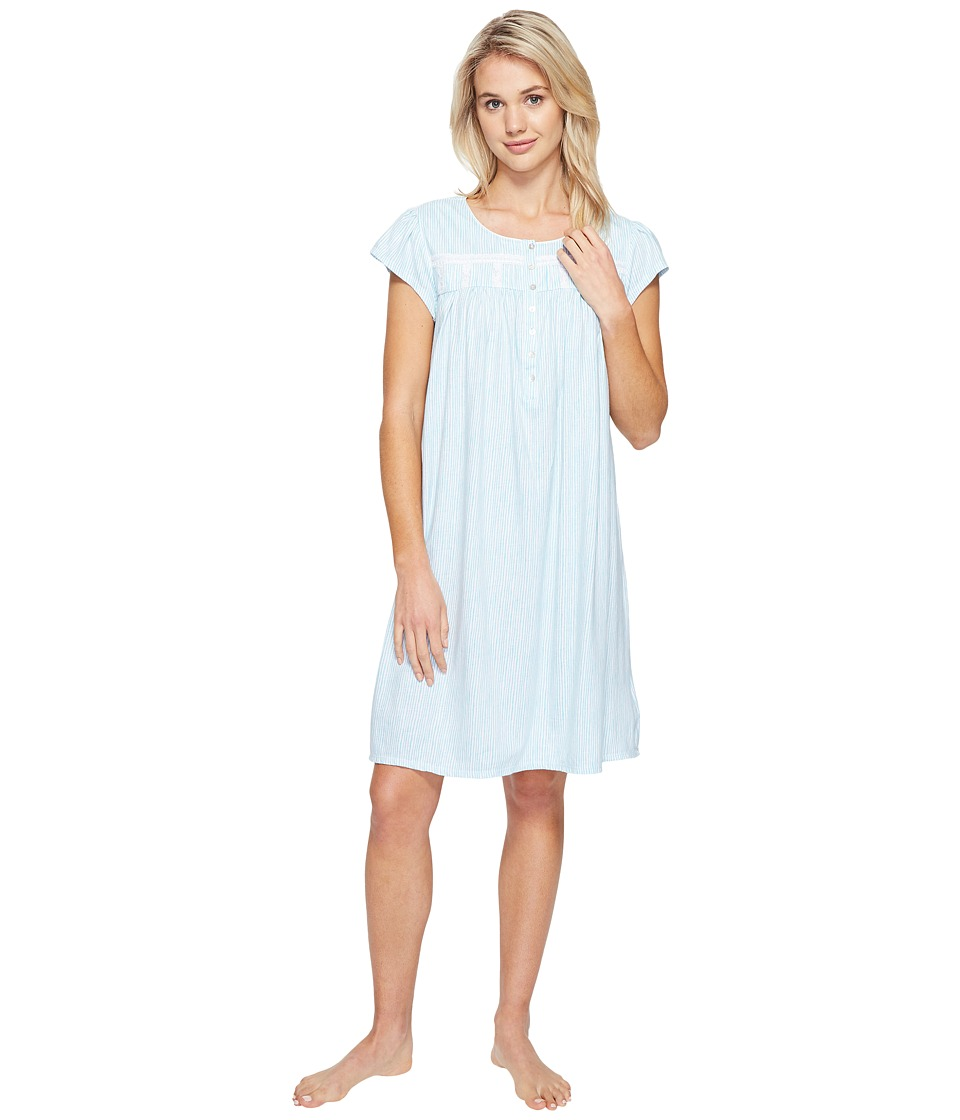 Eileen West - Short Nightgown (Aqua Stripe) Women's Pajama
